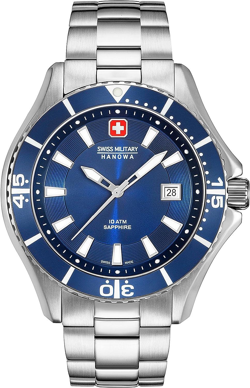 Swiss Military Hanowa Reloj Analógico para Hombre de Cuarzo con Correa en Acero Inoxidable 06-5296.04.003