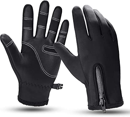 ROCKBROS Cycling Gloves Men Winter Windproof Thermal Cold Weather Touch Screen Gloves Leather Black