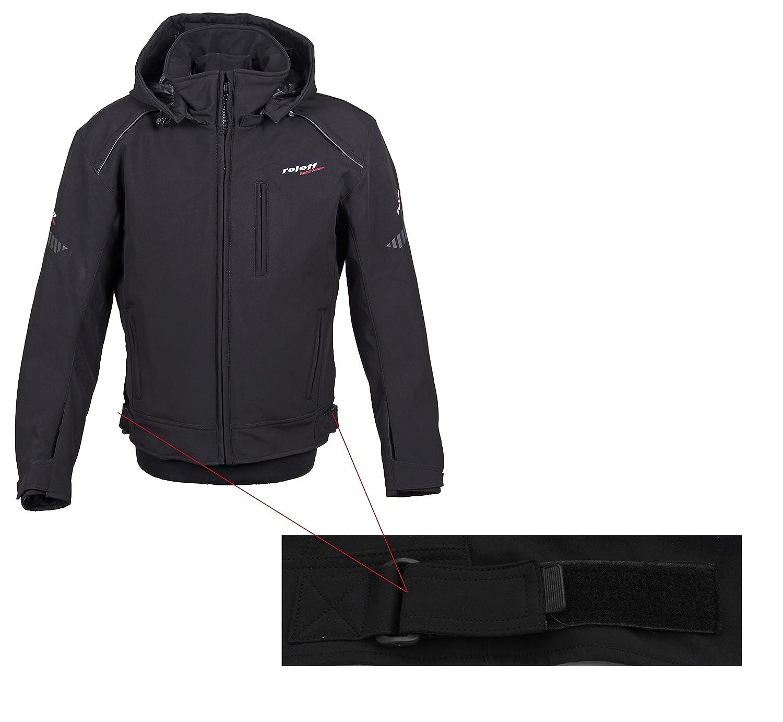 Roleff Racewear Softshell Veste de moto avec capuche noir Taille S