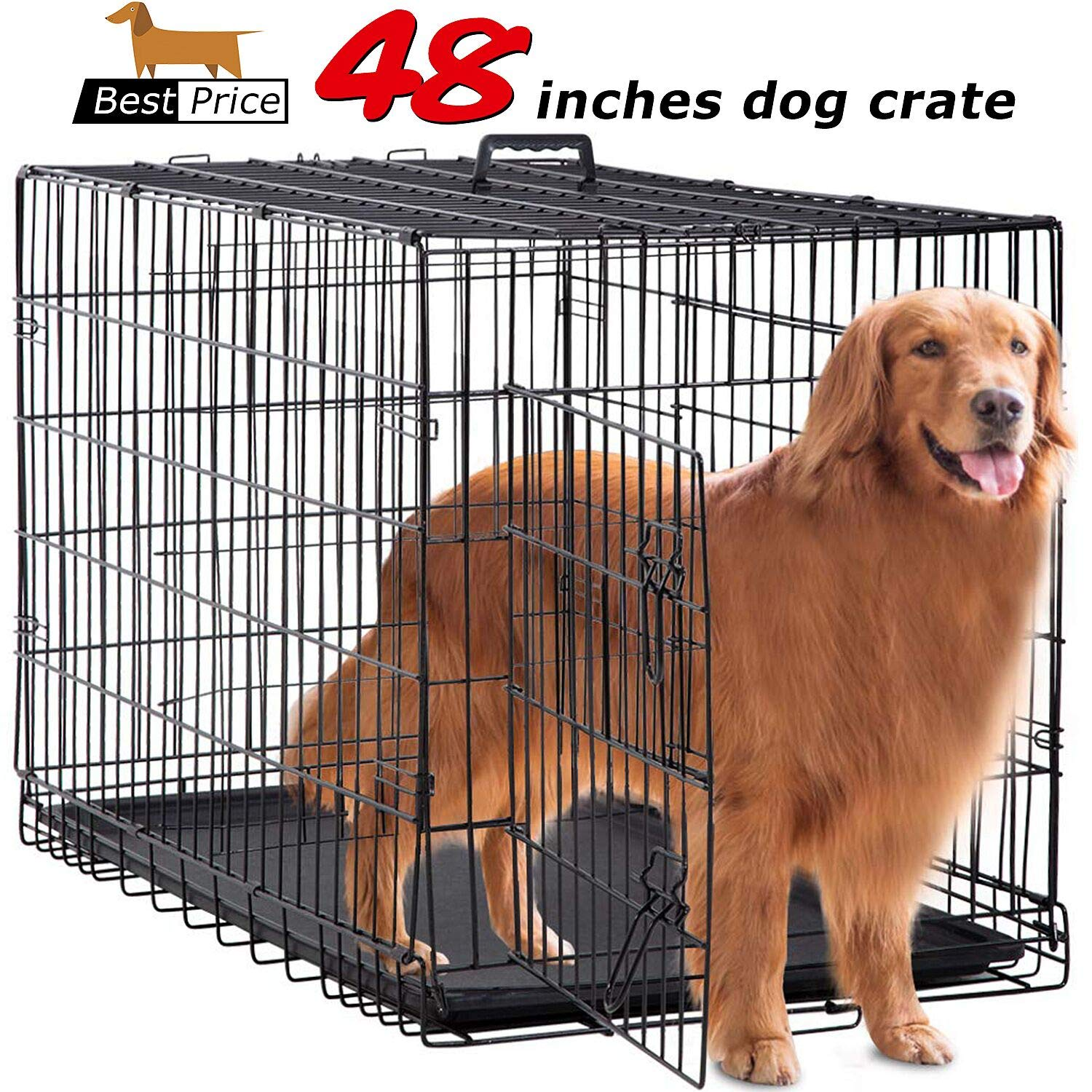 BestPet Large Dog Crate Cage Metal Wire Kennel Double-Door Folding Pet Animal Pet Cage with Plastic Tray & Handle, 48'' by BestPet