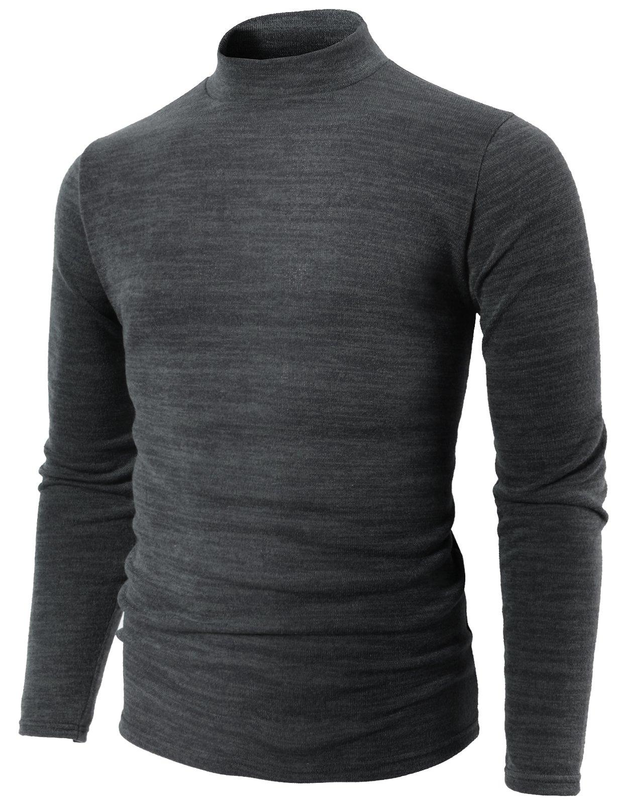 H2H Mens Casual Slim Fit Half Turtle-Neck Lightweight Sweater Gray US M/Asia XL (KMTTL0412)