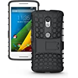 Pudini Hybrid Kickstand Armor Case Cover For Motorola Moto X Play - Black