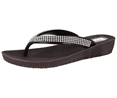 b4948663e566 Ladies ELLA S1 Diamante Toe Post Flat Low Wedge Jelly Flip Flop Summer  Sandals Size 3