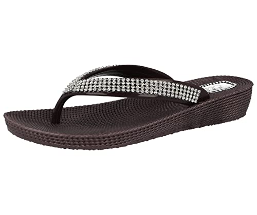 2d132f047fc8 Ladies ELLA S1 Diamante Toe Post Flat Low Wedge Jelly Flip Flop Summer  Sandals Size 3