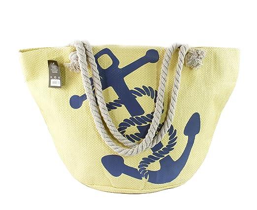 ANGELINA Bolsa de Playa y Compras Grande con Cremallera Asas de Cuerda para Hombro Mujer, Estampados, Colores y Diseños Variados (18-004 ocre)
