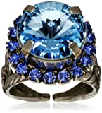 """Sorrelli """"Electric Blue"""" Round Cut Cocktail Ring, Size 7-9"""