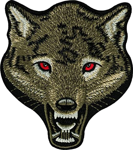 wolf gray embroidered iron on applique patch