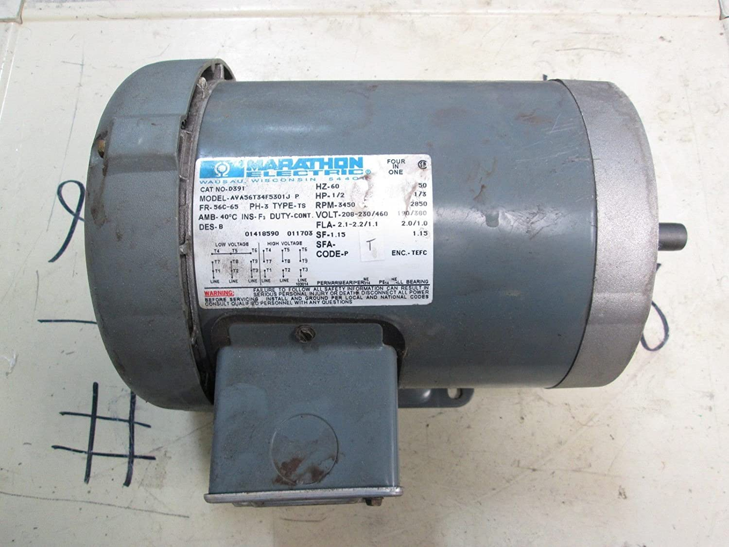 Marathon D391 56C Frame 56T34F5301 TEFC General Purpose Motor, 3 Phase, C-Face with Base, Ball Bearing, 1/2 hp, 3600 RPM, 1 Speed, 208-230/460 VAC