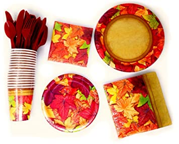 Forest Floor Thanksgiving Harvest Paper Plates Napkins Cups and Utensils for 16 in Autumn Colors  sc 1 st  Amazon.com & Amazon.com: Forest Floor Thanksgiving Harvest Paper Plates Napkins ...