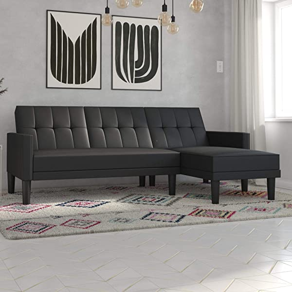DHP Haven Small Space Sectional Futon Sofa, Black Faux Leather