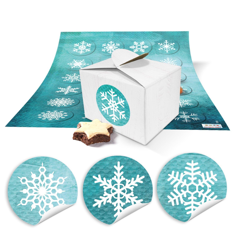 48 Blanco Pequeñas Cajas De Regalo regalo del paquete regalo Cajas Navidad (8 x 6,5 x 5,5) + Pegatinas Copos de nieve turquesa bonita Navidad del paquete ...