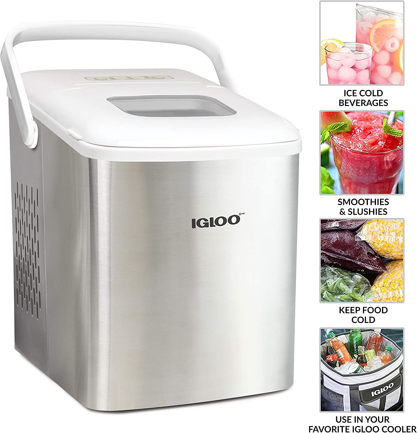 Igloo Iceb26hnsswl Stainless Steel Automatic Self Cleaning Portable Electric Countertop Ice Maker Machine With Handle 9 Ice Cubes Ready In 7 Minutes With Ice Scoop And Basket Stainless White Appliances