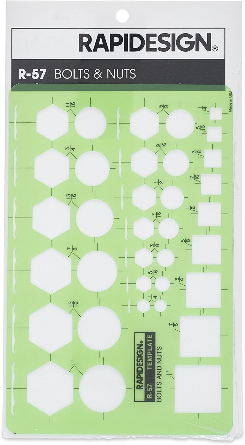 Rapidesign Bolts and Nuts Template, 1 Each (R57)