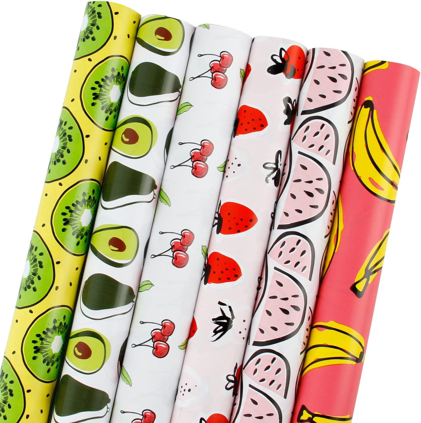 LaRibbons Fruit Wrapping Paper Roll - All Occasion Fruits for Birthdays, Wedding, Baby Showers, Mother's Day - 6 Rolls - 30 Inch X 120 Inch Per Roll