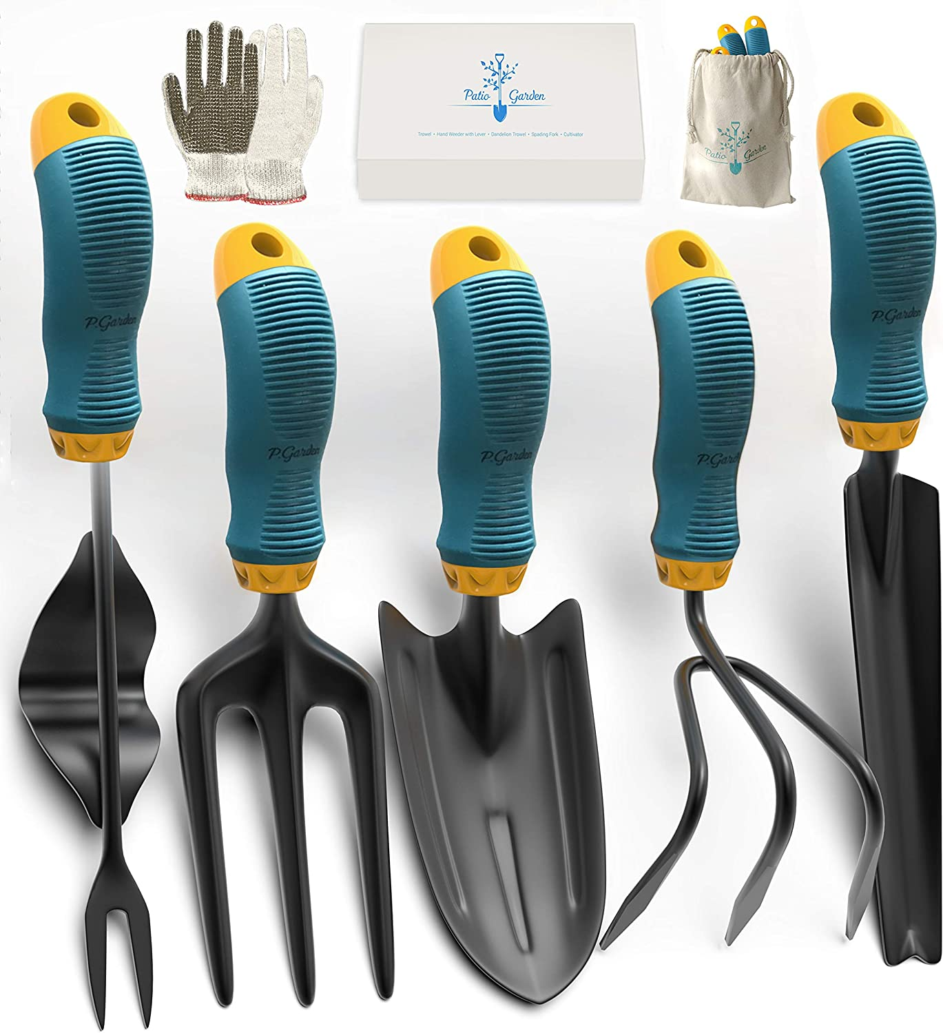 Gardening Tools Set from Alloy Steel - Heavy Duty Garden Tool Set with Rubber Non-Slip Handle - Gardening Kit with Gloves and Bag - Ergonomic Garden Hand Tools - Gardening Gifts for Men and Women : Garden & Outdoor