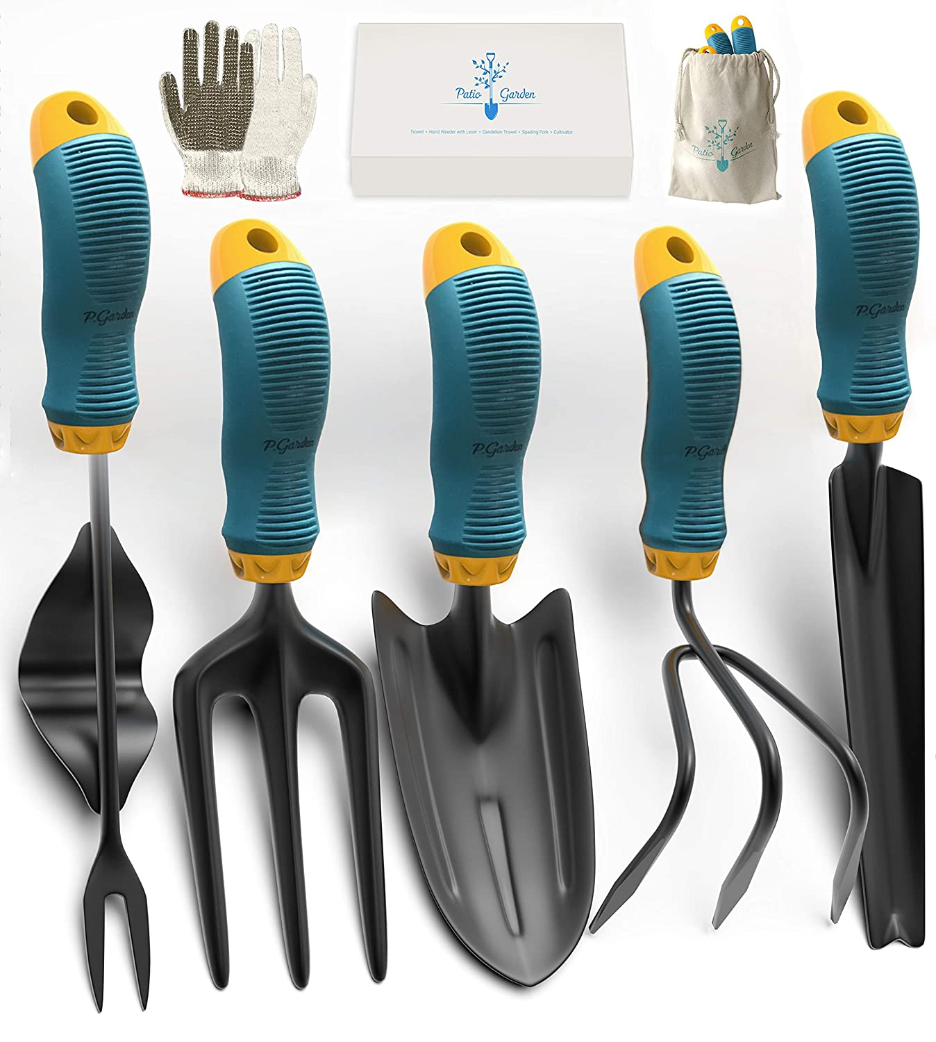 Gardening Tools Set from Alloy Steel - Heavy Duty Garden Tool Set with Rubber Non-Slip Handle - Gardening Kit withGloves and Bag - Ergonomic Garden Hand Tools - Gardening Gifts for Men and Women