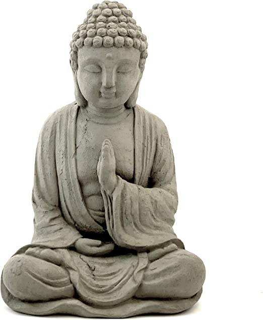 Amazon Com Blessing Buddha Statue Solid Durable Stone Distressed Weathered Worn Detail Sealed For Outdoor Use Perfect For Indoor Outdoor Design Handcrafted In The Usa Home Kitchen