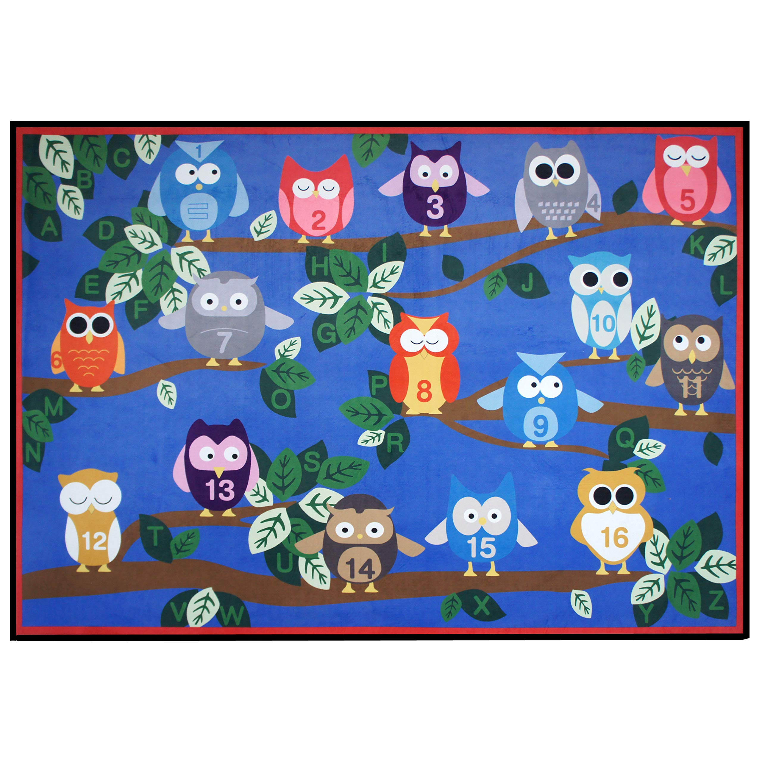 USTIDE Cute Numbers on Owl Educational Kids Rug Numbers Animal on Blue 5'x7' Bright Kids Rug for Bedroom and Playroom