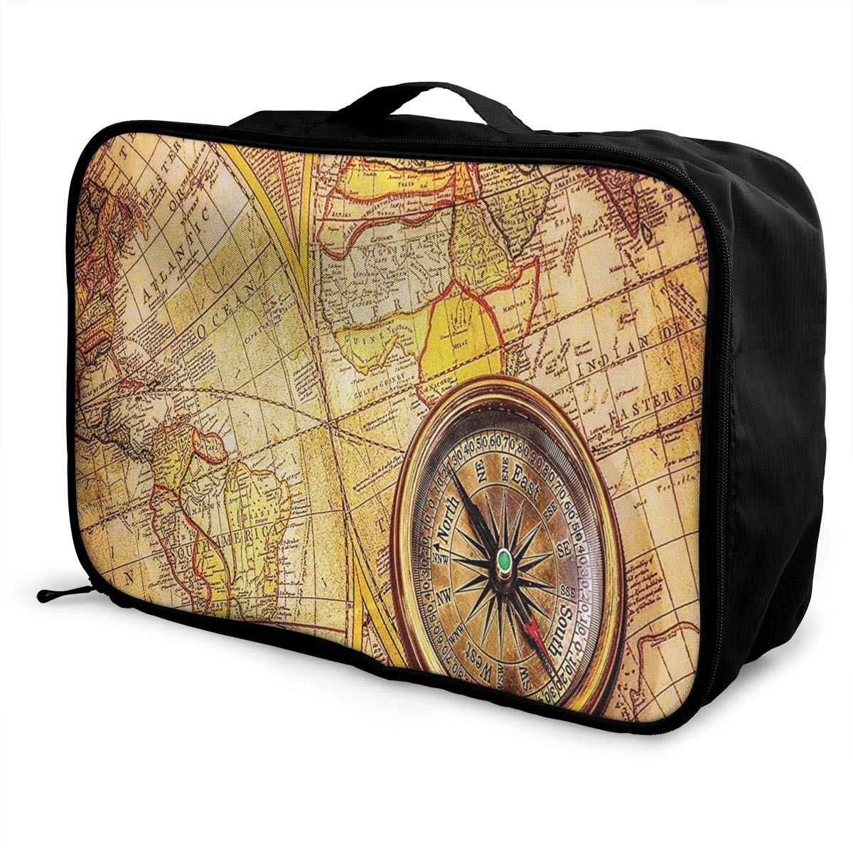 ADGAI Compass On an Ancient World Map Canvas Travel Weekender Bag,Fashion Custom Lightweight Large Capacity Portable Luggage Bag,Suitcase Trolley Bag
