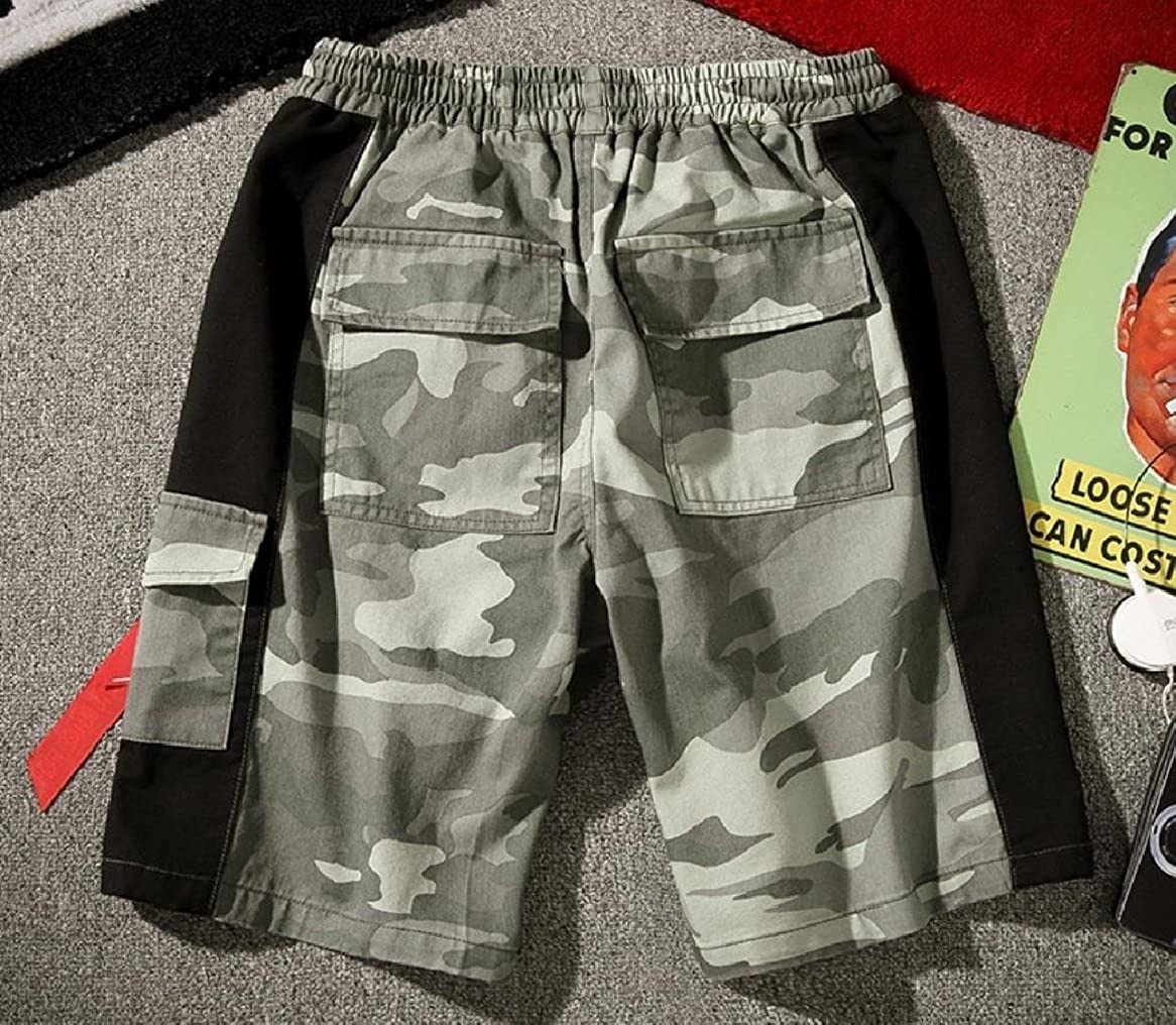 CuteRose Men Patched Juniors Multicamo Oversized Multi-Pockets Cargo Shorts