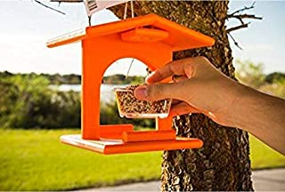 product image for Amish Poly Plastic Outdoor Oriole Bird Feeder, Single Removable Jelly Jar Feeding Cup, USA Made, Bright Orange