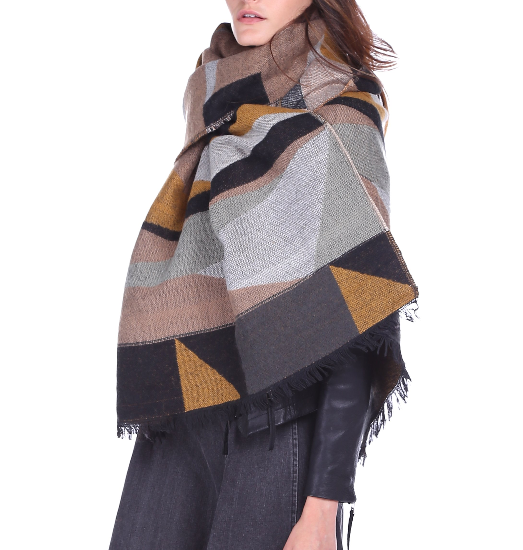 Afibi Women's Long Color Block Blanket Shawl Fashion Winter Warm Large Scarf (Brown)