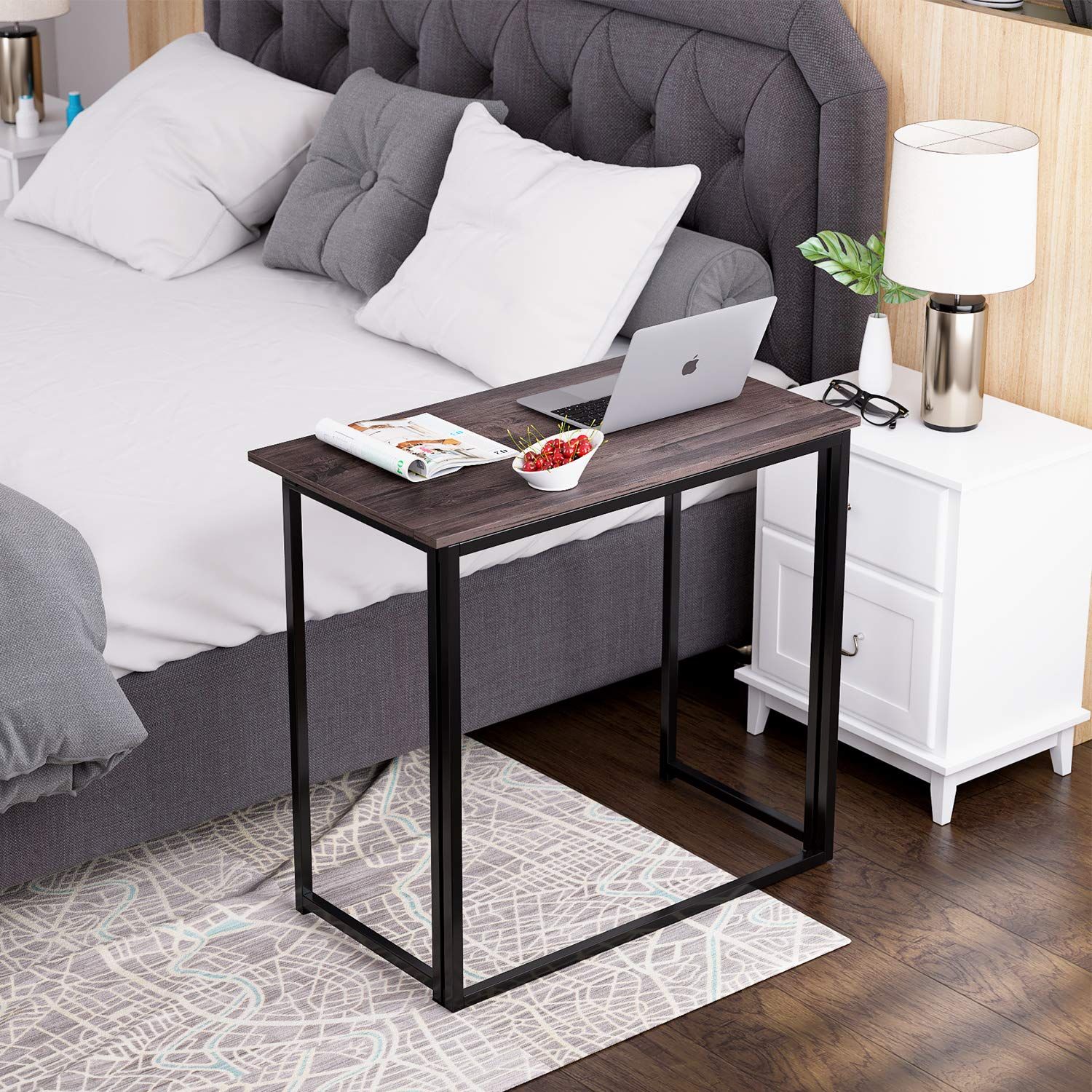 HOMFA Folding Laptop Table, Writing Computer Notebook Desk, Modern Simple Industrial Style TV Tray Bed/Sofa Side Study Table, Space Saving Furniture for Home Office