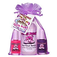 Piggy Paint Non-toxic Girls Nail Polish Kit - Safe Fingernail Polish for Kids - Girls Rule (Purple, Pink, Remover)
