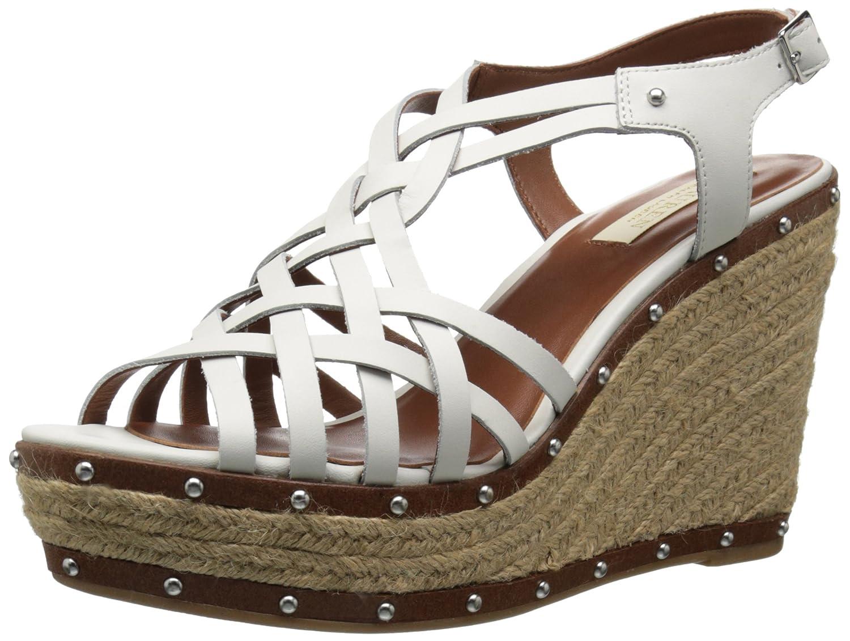 Lauren Ralph Lauren Women's Stacey Wedge Sandal B0194GOYM0 9.5 B(M) US|Real White Burnished Vachetta