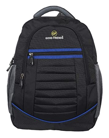 Good Friends Men s Polyester 40 L Waterproof Black and Blue Laptop Backpack   Amazon.in  Bags bb037dc089606