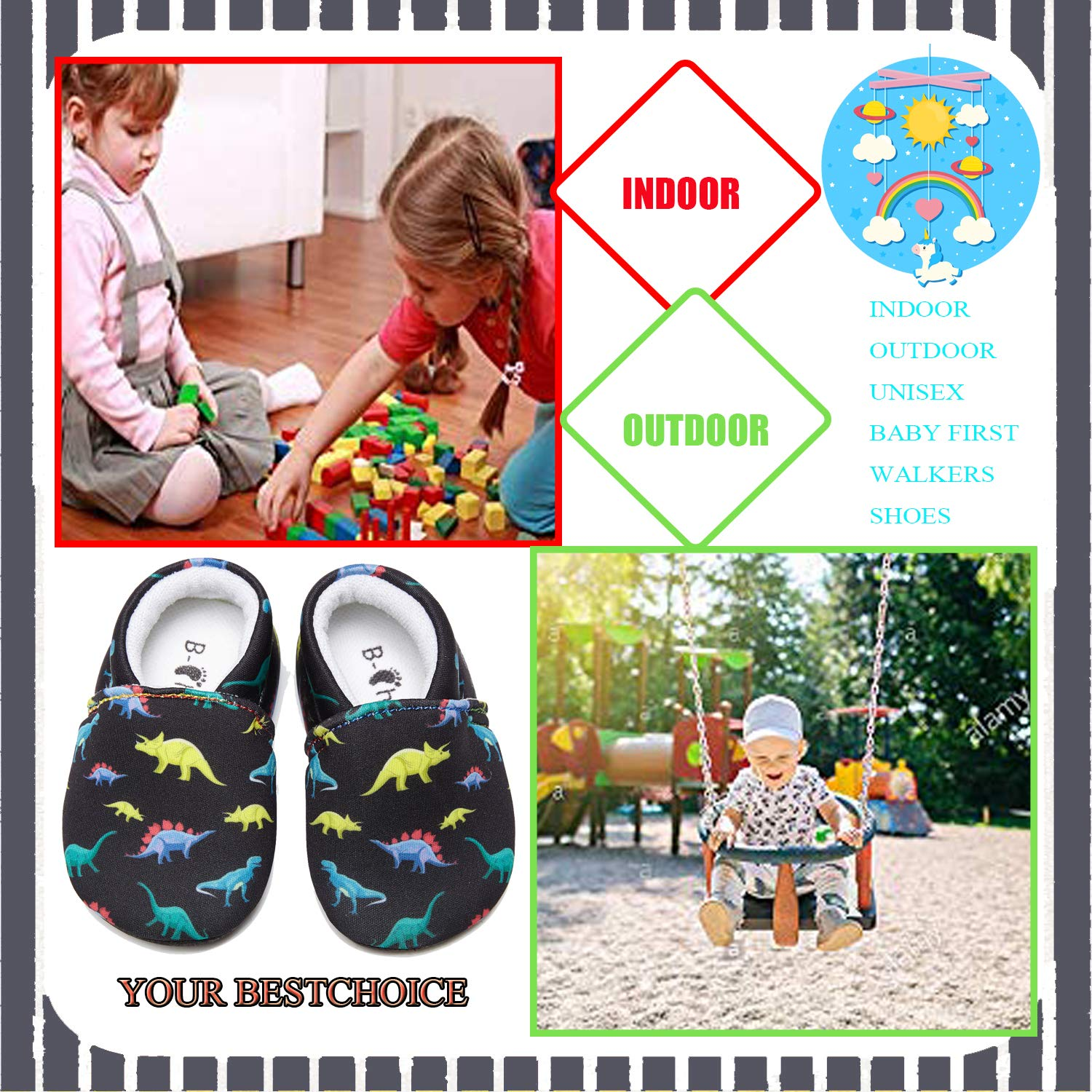 Child Baby Warm Shoes Non Skid Slipper Socks Infant First Walker House Walking Crib Shoes 9 Styles for Boys /& Girls