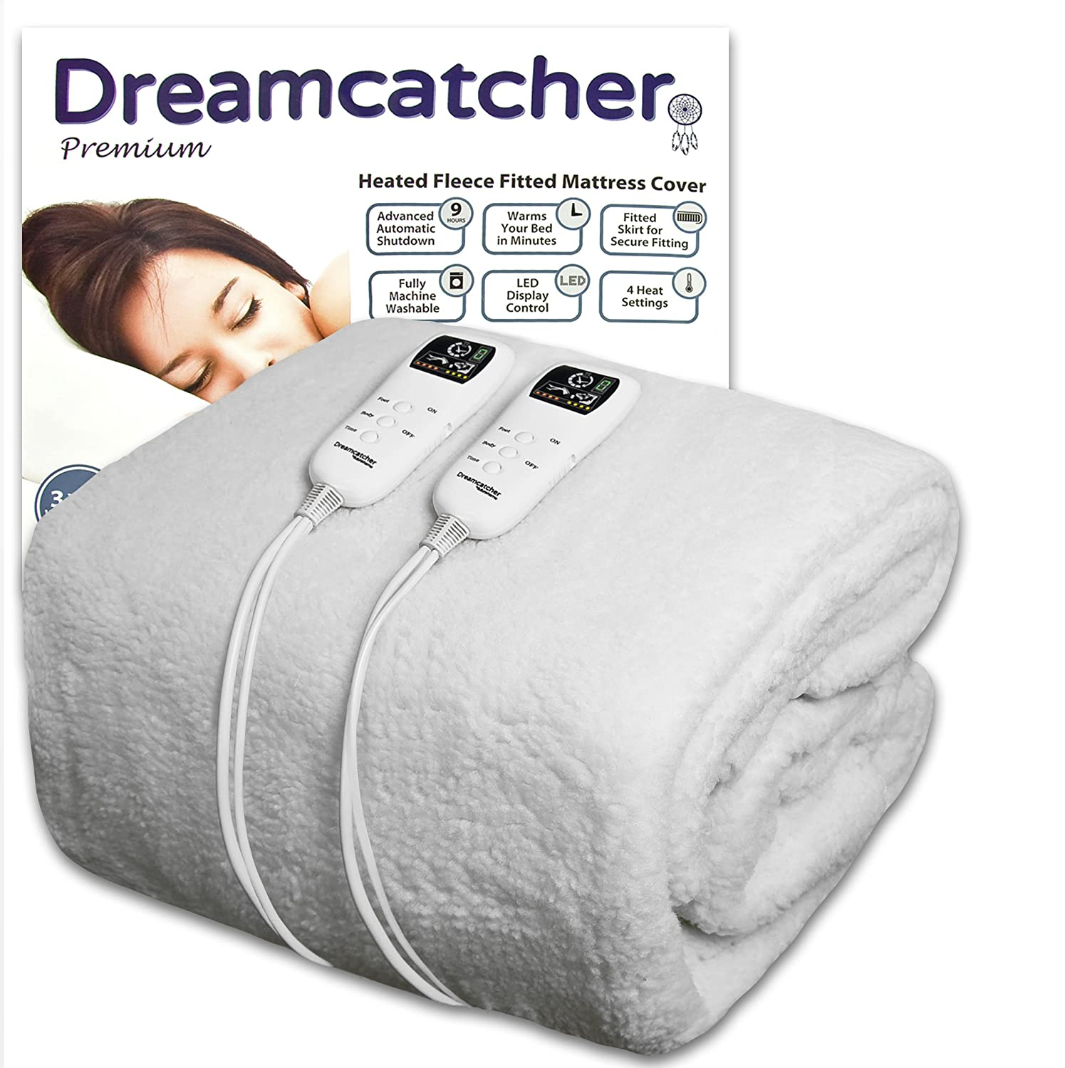 Dreamcatcher Electric Blanket Double Premium Polar Fleece, Double Bed, Electric Heated Blanket, Soft Fitted Underblanket with Dual LED Controllers, 8 Comfort settings, Timer Function