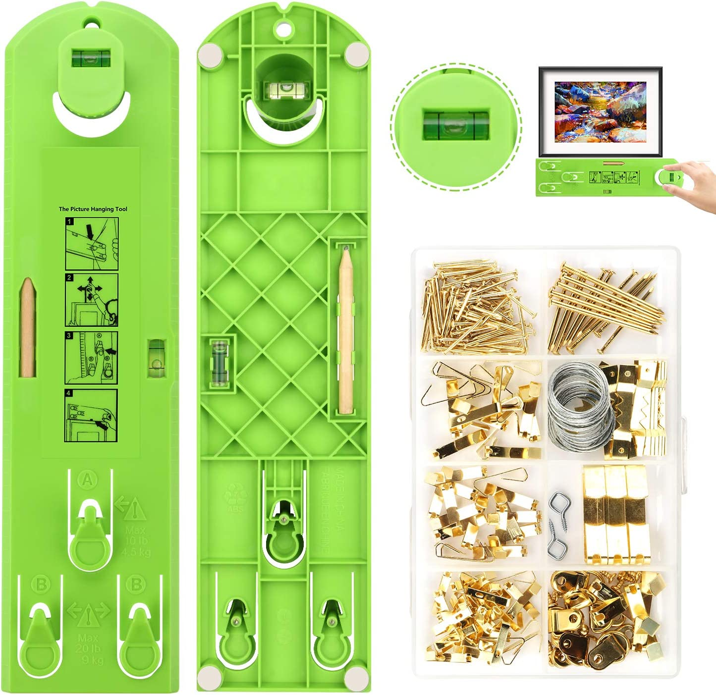 Picture Hanging Kit, Picture Frame Hanger Tool, 222 Pieces Heavy Duty Photo Hanger Accessories with Picture Hanging Wire, Hooks, Nails and Hanger Level