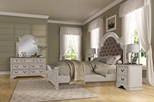Roundhill Furniture Laval Wood Bedroom Set, Upholstered Queen Bed, Dresser, Mirror, One Nightstand, Antique White and Oak