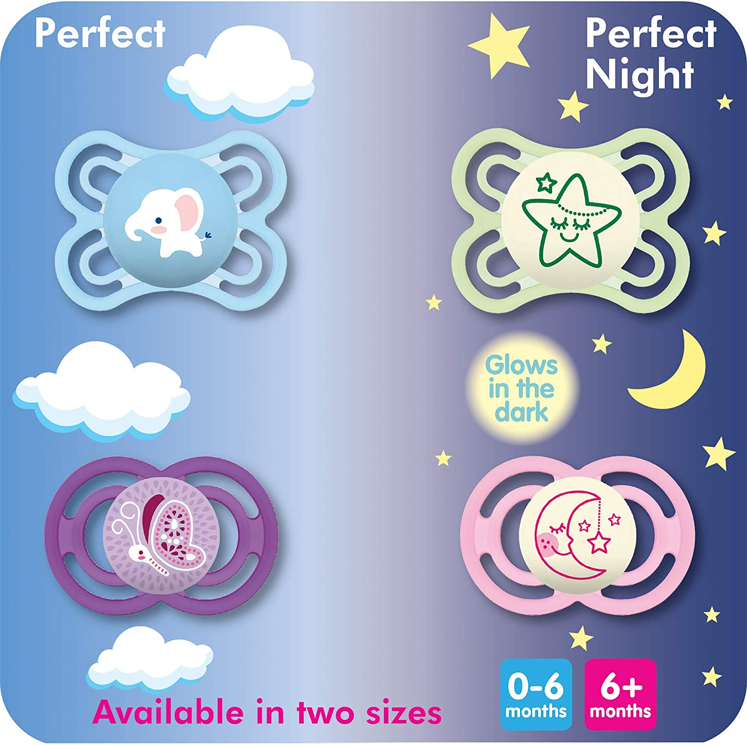 MAM Pacifiers 0-6 Months 2 pack Baby Boy Pacifier Glow in the Dark Pacifiers Best Pacifier for Breastfed Babies MAM Perfect Night Pacifiers