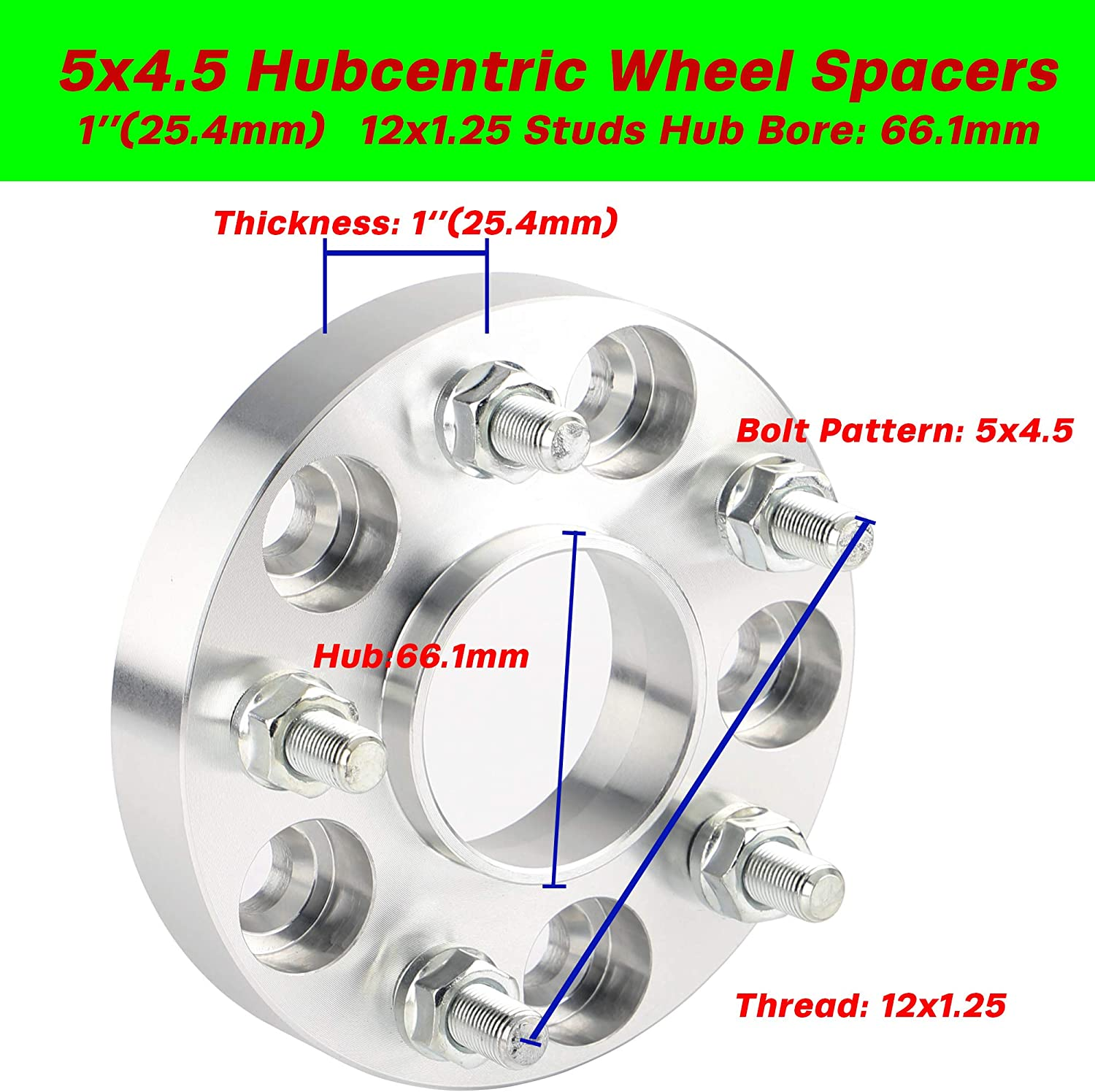 1 inch 66.1mm CB Hubcentric Wheel Spacers 5x4.5 for 350Z 370Z G35 G37 with 12x1.25 Studs Rying 5x114.3 Wheel Spacers for Nissan Inifinit Selected Vehicles Bonus Thread-Locking Adhesives