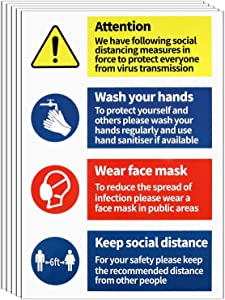 12 Pieces Keep Social Distance Guideline Sign Stickers Wear Face Covering Please Wash Your Hands Decal Sign for Business Shop Office Restaurant Window Door Wall Notice