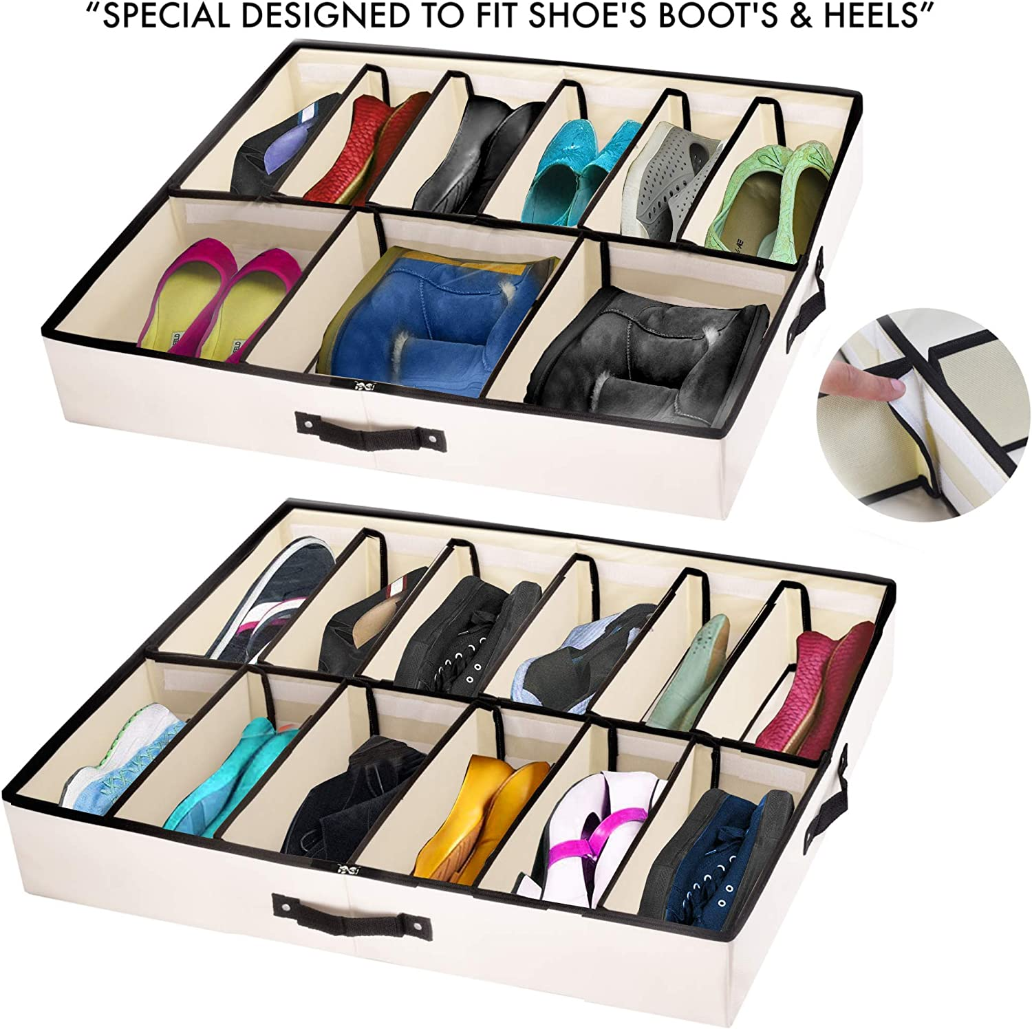 """Woffit """"The Ultimate Under Bed Storage Organizer"""" with Adjustable Dividers That fit Every Size Shoe, Boots, Heels & Accessories - Set of 2 Underbed Organizers Fits 24 Pairs Kids, Men & Women Shoes"""