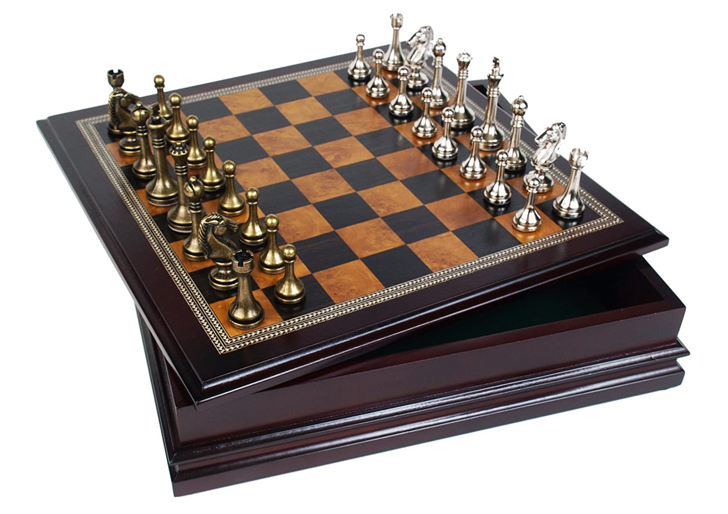Amazoncom Metal Chess Set With Deluxe Wood Board and Storage 25