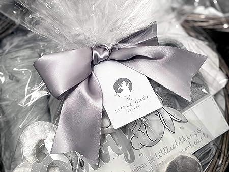 Panier cadeau parfait pour b/éb/é Little Grey London 100 /% mousseline de coton biologique robe de chambre en peluche hochet /él/éphant doux et cadre photo couverture en peluche