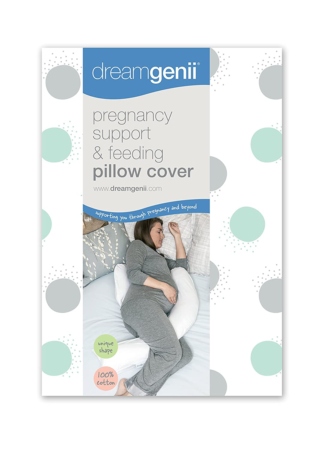 Dreamgenii Pregnancy Support and Feeding Pillow Cover, White Cotton Jersey TR2150-12