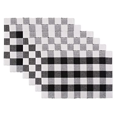 DII CAMZ11250 100% Cotton, Machine Washable, Everyday Buffalo Check Placemat for Dinner Parties & Holidays, Black & White