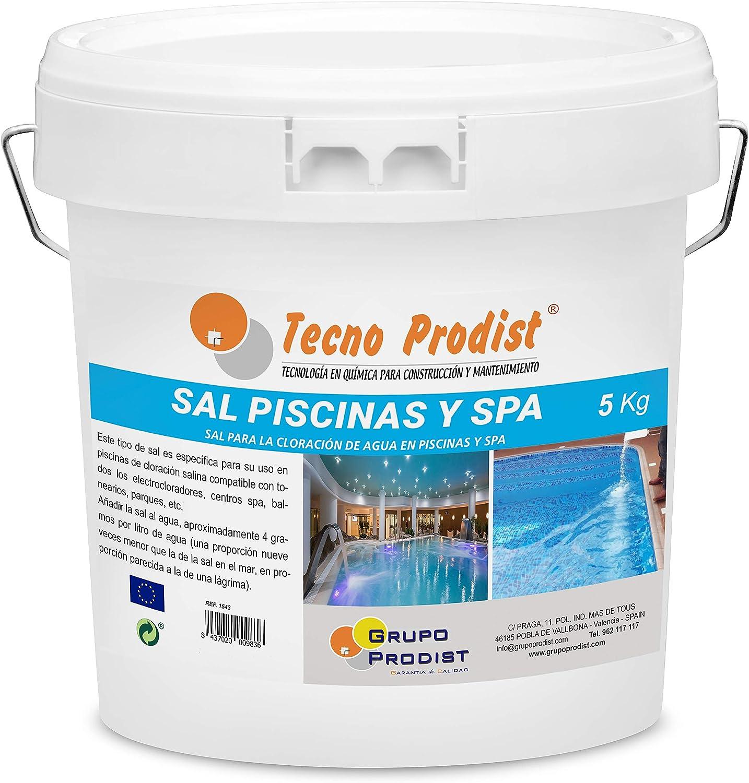 Tecno Prodist Sal Piscinas Sal Especial para la cloración Salina de Piscinas, SPA o Jacuzzis - En Cubo de 5 kg Fácil Aplicación