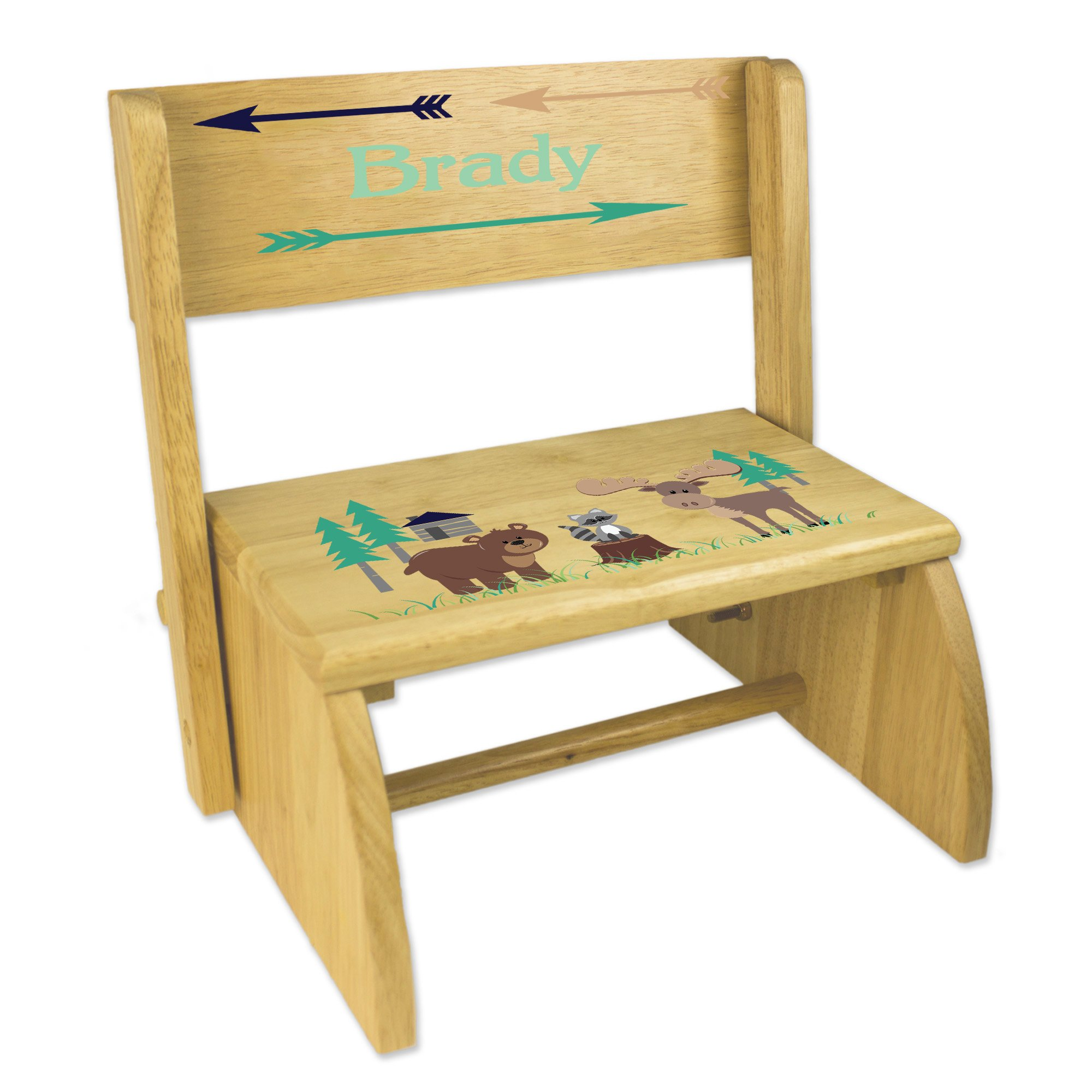 Personalized North Woodland Critters Childrens and Toddlers wooden folding stool