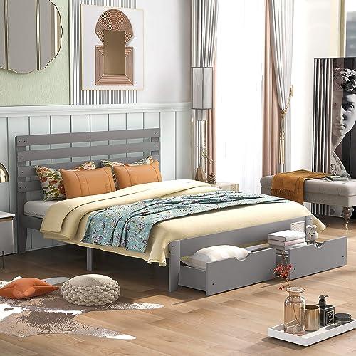 P PURLOVE Queen Size Wood Platform Bed