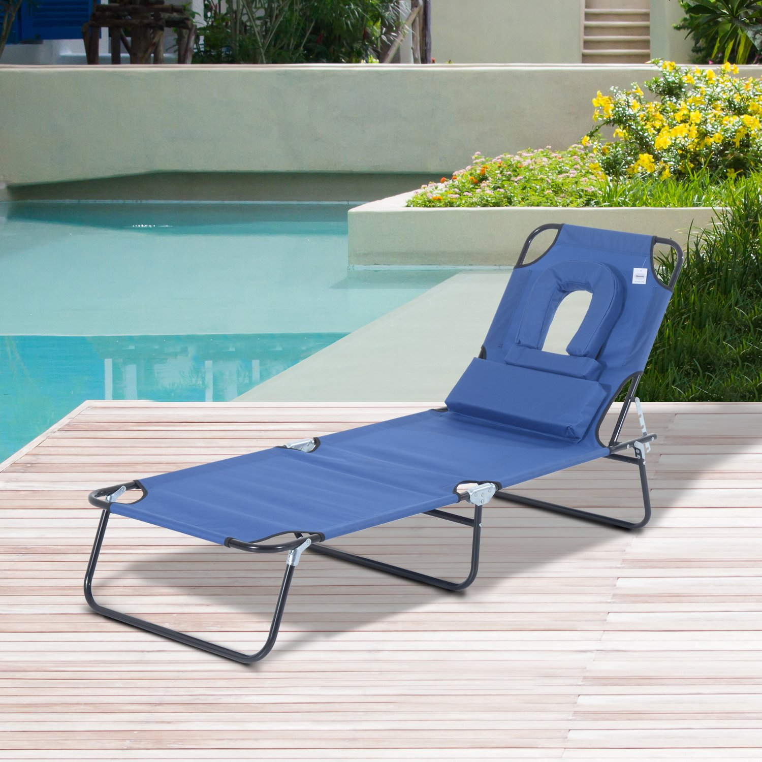 Outsunny Sun Lounger Foldable Reclining Chair with Pillow and