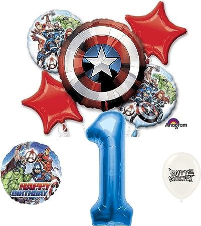 Amazon.com: Primer cumpleaños azul número Marvel Capitán ...