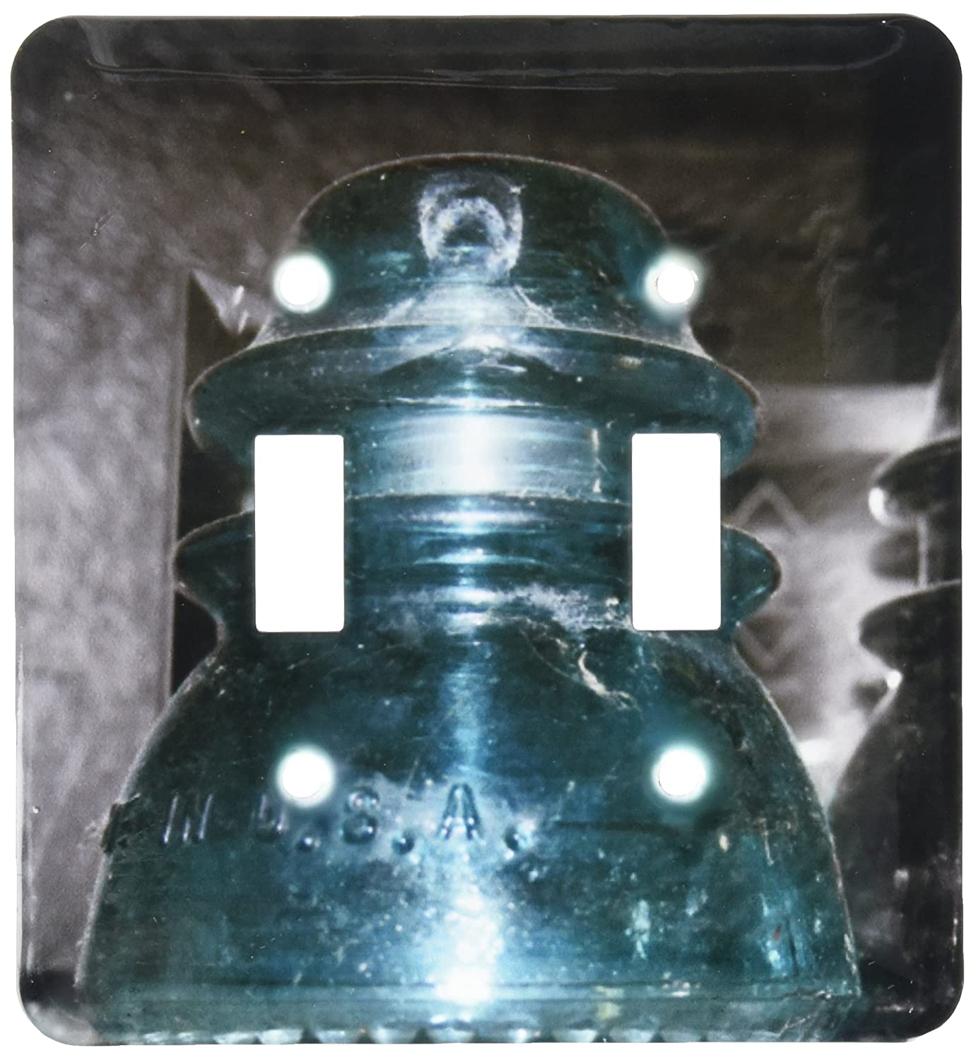 3dRose lsp/_155955/_2 Blue Glass Electric Insulator Light Switch Cover