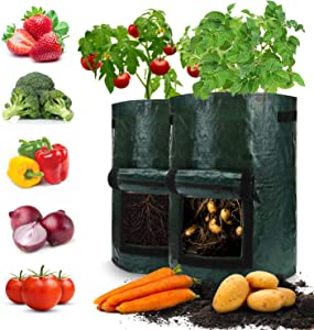 TRINIDa Grow Bags, 2 Pack 10 Gallon Potato Grow Bags with Access Flap & Aeration Holes, Vegetables Garden Planting Bags for Onion, Fruits, Tomato, Carrot
