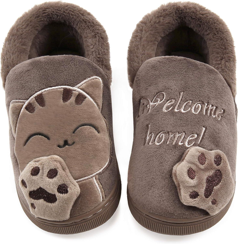 Vunavueya Enfants Chausson Gar/çon Fille Peluche Pantoufle Hiver Chaussures de Maison B/éb/é Chaude Fourr/ées Doubl/ée Mules Slippers 21-34